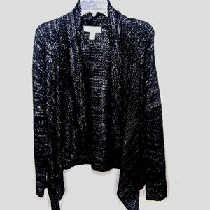 NWOT Womens Large Sauci Black/Silver Cardigan